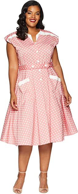 Plus Size 1950s Cap Sleeve Hedda Swing Dress