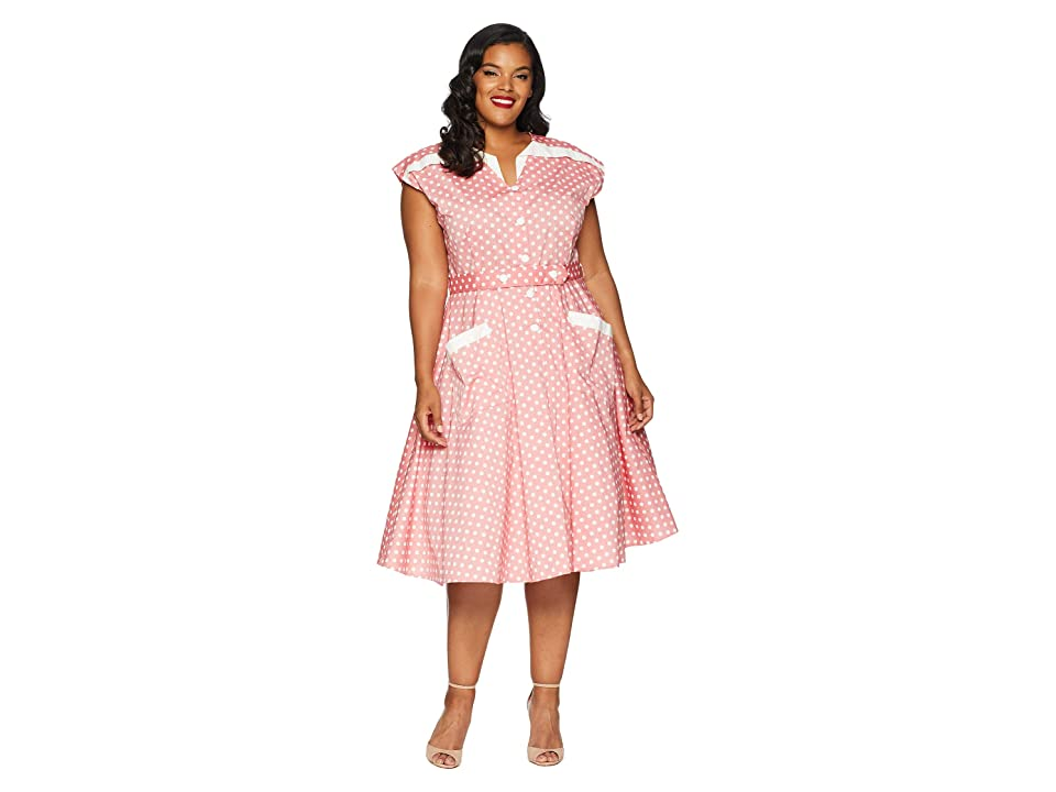 Polka Dot Dresses: 20s, 30s, 40s, 50s, 60s Unique Vintage Plus Size 1950s Cap Sleeve Hedda Swing Dress RedIvory Dotted Womens Dress $118.00 AT vintagedancer.com