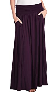 Women's High Waist Fold Over Pocket Shirring Skirt