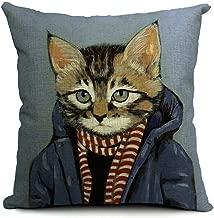 Winterworm European Style 18 X 18 Inch Cotton Blend Linen Cute Cats Dogs Throw Pillow Cover Cushion Case For Home Bedding Car Sofa Decoration (Dark Blue)