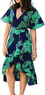 Summer Women Chiffon Midi Dress Ruffles Casual Short Sleeve V-Neck Wrap Party Bohemian Dresses