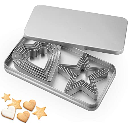 Svnntaa 10PCS Cookie Cutters Set, Star and Love Heart Biscuit Cutters Stainless Steel Pastry Donuts Cutters with Storage Box