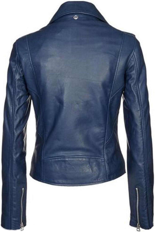New Women Genuine Real Leather Jacket Ladies Slim Fit Biker Coat LTN537