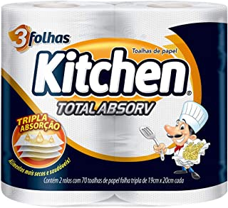 Papel toalha kitchen folha tripla total absorv 140 folhas, Kitchen