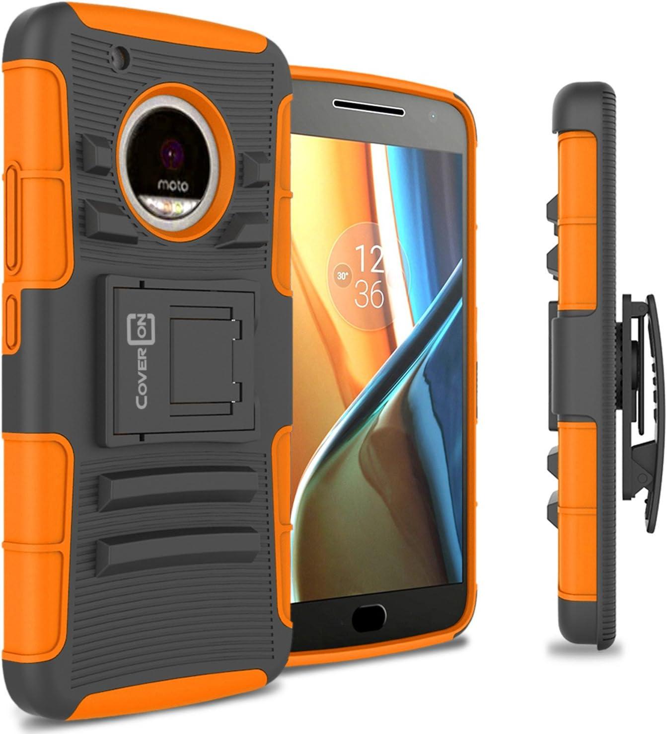 CoverON Kickstand Belt Clip Explorer Series for Motorola Moto G5 Plus/Moto X 2017 Holster Case, Orange on Black