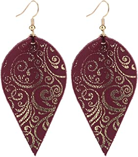 Women's Real Genuine Leather Gold Foil Leaves Dangle Earrings