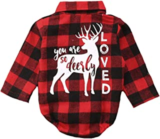 2b65cef9c Toddler Baby Boys Girls Letters Print Long Sleeve Button Down Red Plaid  Cotton Top Blouse
