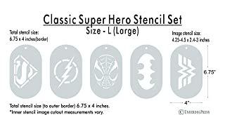 Stencils- Classic Super Heroes Set of 5, Size 2