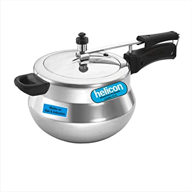 HELICON Aluminium Handi Pressure Cooker - 5 L Capacity - Silver (Works on Gas and Induction Both)