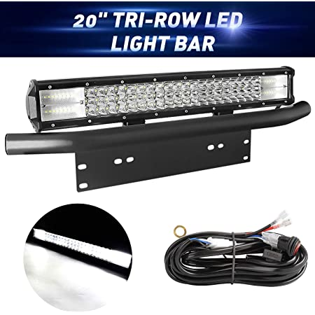 LED Light Bar with Wiring Harness Kit, EBESTauto Compatible for 20 Inch LED Bar Triple Row Spot Flood Combo LED Work Light with Bracket for Off-road Car ATV SUV Truck Boat Driving Lamp Light