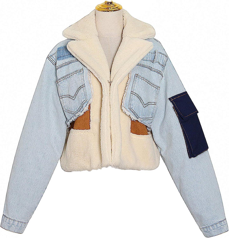 Zyhoi Patchwork Lambswool Denim Jacket for Women Lapel Long Sleeve Tassel Casual Coat Female Winter Tide