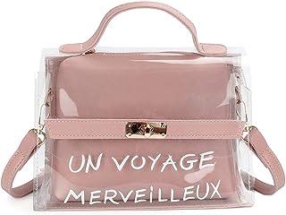 d01b7b5292 CRAZYCHIC - Sac Transparent Femme - Petit Sac à Main PVC Porté Epaule  Bandoulière - Cabas