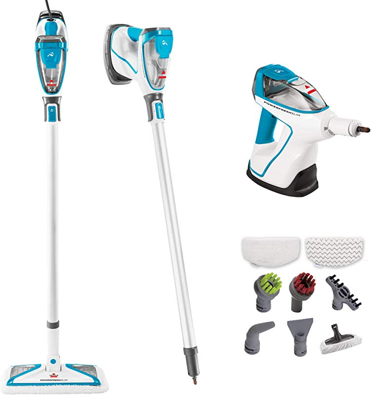 Bissell PowerFresh Slim Hard Wood Floor Steam Cleaner System Steam Mop Handheld Steamer And Scrubbing Tools And Clothing Steamer Tool 2075A