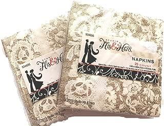 Burlap & Lace 2 Pack Paper Napkins, Dessert Size, Wedding, Tea Party, Showers, Party, Tan, Ivory