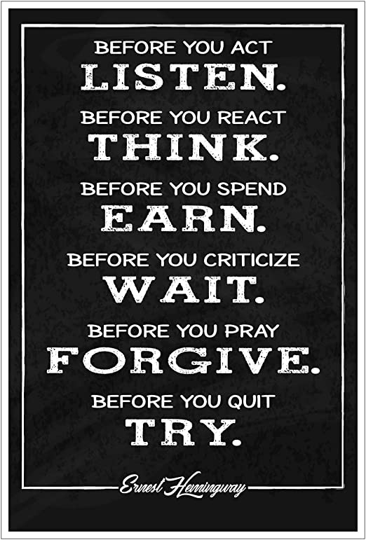 JSC175 Ernest Hemingway Quote Poster | Motivational Poster | Inspirational Print | 18-Inches by 12-Inches | Premium 100lb Gloss Poster Paper