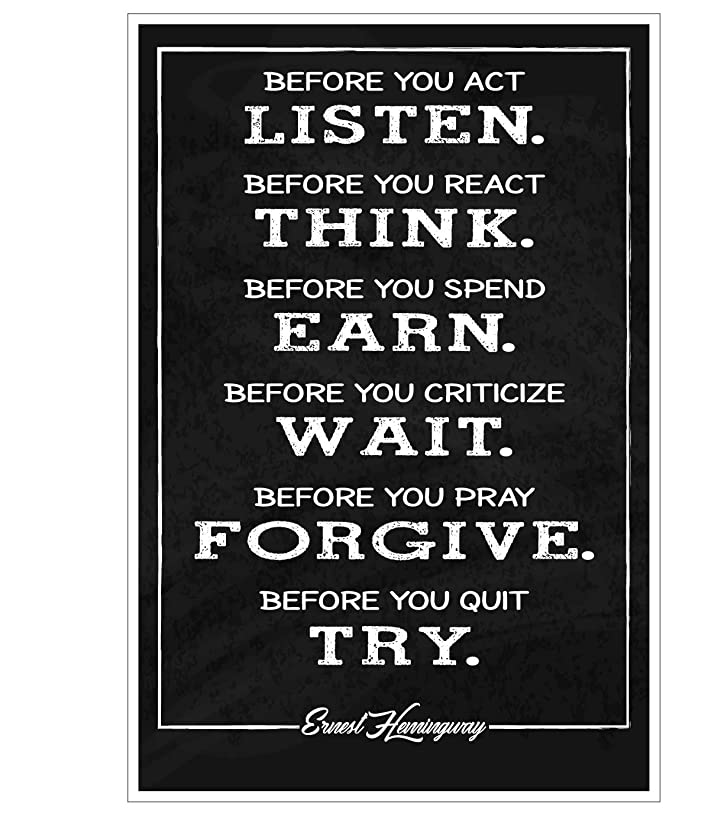 JSC175 Ernest Hemingway Quote Poster | 18-Inches By 12-Inches | Premium 100lb Gloss Poster Paper