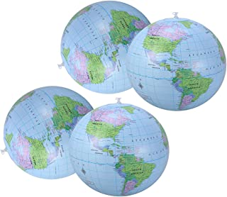 LIOOBO 4pcs 16 Inch Inflatable Beach Balls World Globe Earth Map Pattern Pool Balls for Kids Boys Girls Summer Beach Pool ...