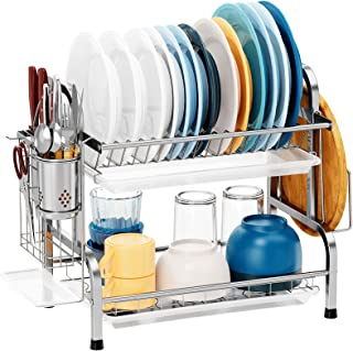 Dish Drying Rack, Warmfill 304 Stainless Steel 2 Tier Dish Rack with Drain Board, Utensil Holder and Dish Drainers for Kit...