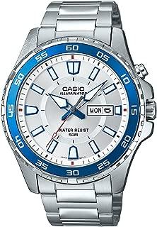 Men's 'Super Illuminator' Quartz Stainless Steel Casual Watch, Color:Silver-Toned (Model: MTD-110D-7AVCF)