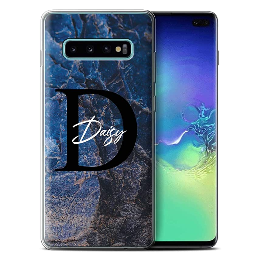 Personalized Custom Marble Stone Fashion Gel/TPU Case for Samsung Galaxy S10 Plus/Blue Pearl Granite Design/Initial/Name/Text DIY Cover
