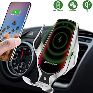 LUKKAHH R3 Wireless Car Charger Mount,Auto-Clamping Air Vent Phone Holder,10W Qi Fast Car Charging,Compatible iPhone 11/11 Pro/11 Pro Max/XS/XS Max/X/8/8+, Samsung Note9/Note10/S9+/S10+(Silver)