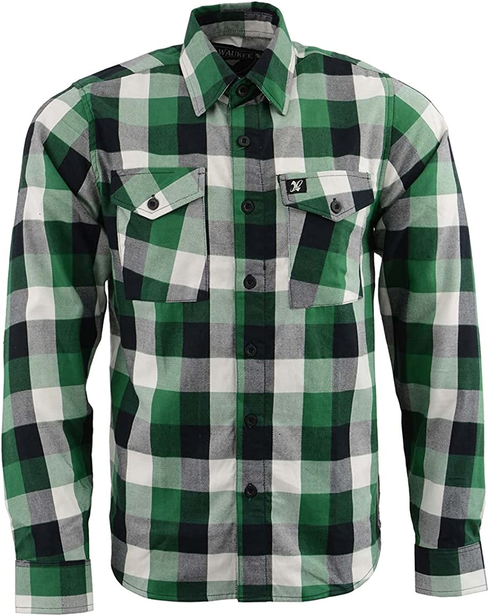 NexGen MNG11636 Men's Green and White Long Sleeve Cotton Flannel Shirt