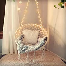 SURPCOS Hammock Chair with Lights and Durable Hanging Hardware Kit, Exquisite Round Hanging Chair, 100% Cotton Rope Macram...