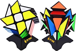 JoyTown Speed Cube Set of 2 Bundle Pack Windmill Cube Magic Puzzle, YJ Axis V2 New Version Fluctuation Angle Twisty Puzzle, Odd 3x3 Speedcubing with Bonus Stands Black