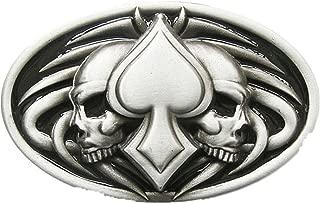 Vintage Tattoo Twin Skull With Ace Spade Oval Belt Buckle Boucle de ceinture