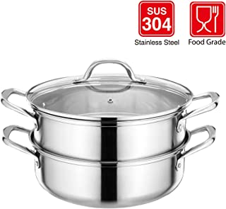 BOMA Stainless Steel 3-Piece 5.8-Quart 2-Tier Pasta/Steamer Set with Tempered Glass Lid and Double Handles - Easy to Clean, Dishwasher Safe (Stainless Steel Color)