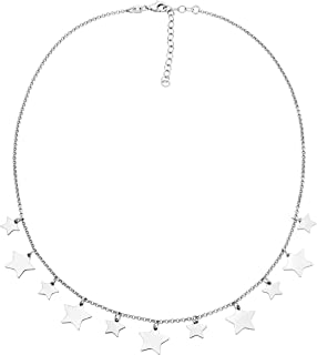 925 Sterling Silver or 18K Gold Plated Silver Lucky Star Dainty Choker Necklace for Women Teen Girls, Adjustable Statement Necklace 14-16 or 16-18 Inch, Made in Italy