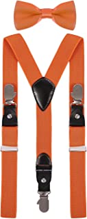 ORSKY Boy's Bow Tie and Suspenders Set Adjustable with Hand Shape Clips