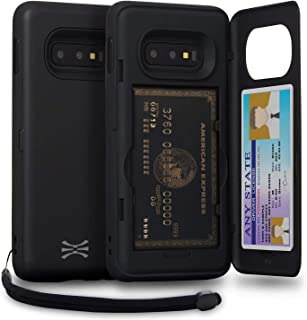 TORU CX PRO Galaxy S10e Wallet Case Black with Hidden Credit Card Holder ID Slot Hard Cover, Strap & Mirror for Samsung Galaxy S10e (2019) - Matte Black