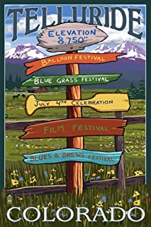 Telluride, Colorado - Festival Destination Signpost (16x24 Giclee Gallery Print, Wall Decor Travel Poster)