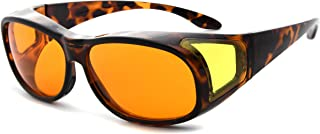 Eyekepper 100% Blue Reduction,Fitover Anti-Blue Blocking Computer Glasses with Extra Amber Lenses for Women, Tortoise
