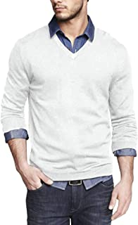 COOFANDY Men Casual V Neck Sweater Ribbed Knit Slim Fit Long Sleeve Pullover Top
