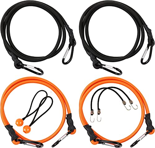 2021 HORUSDY high quality 40 online and 60 Inch Bungee Cord with Carabiner Hook 8 Pack, Superior Heavy Duty Latex Rubber Bungie Cord Straps sale