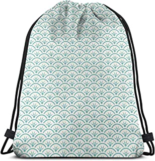 Printed Drawstring Backpacks Bags,Asian Ethnic Ocean Illustration Curvy Rippled Aqua Bubbly Sun Symbols And Rays,Adjustable String Closure