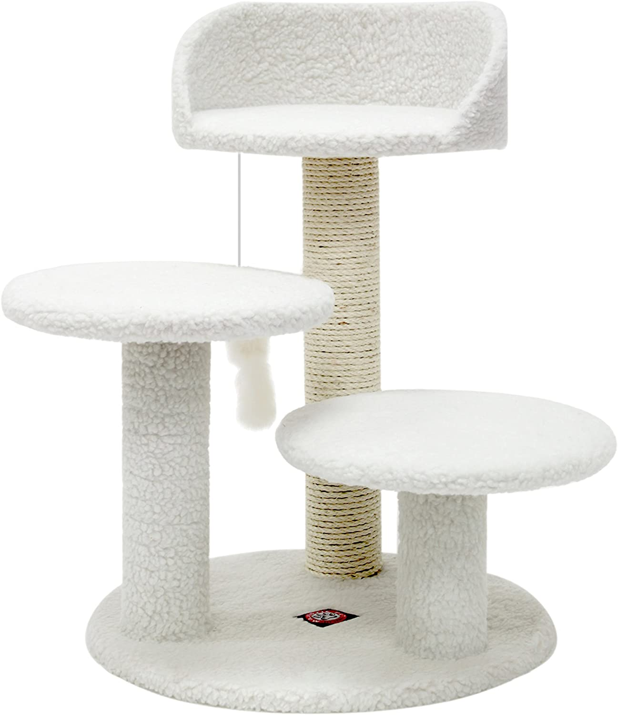 Amazon Com Majestic Pet Products 27 Inch Cream Bungalow Cat Furniture Condo House Scratcher Multi Level Pet Activity Tree Cat Trees Pet Supplies