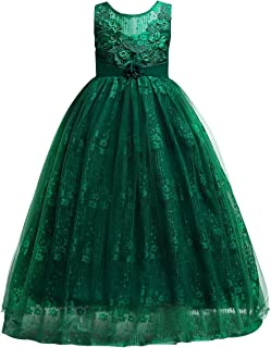 Girls Flower Vintage Lace Princess Long Dress for Kids Tulle Pageant Formal Party Wedding Floor Dance Evening Gown