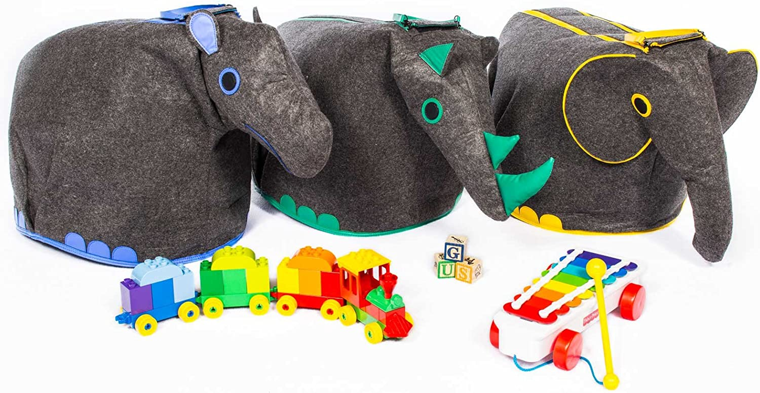 Great Useful Stuff G.U.S Animal Shaped Toy Storage Box, Collapsible Lightweight Bins with Easy Open, Double-Pull Zipper Handle. Set of 3  Elephant, Hippo, Rhino.
