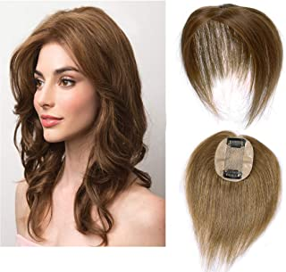Silk Base Real Human Hair Topper for Women Top Hairpiece Clips in Crown Hand Made Toupee Replacement Extentions for Hair Loss Thinning Hair Cover Gray Hair #06 Light Brown 14