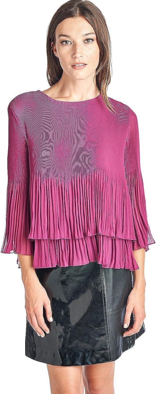 Nabisplace Women's Pleated IRIS Ruffle Pink Blouse 60560