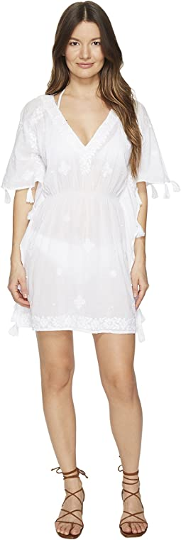 Short Sleeve Embroidered Voile Cover-Up