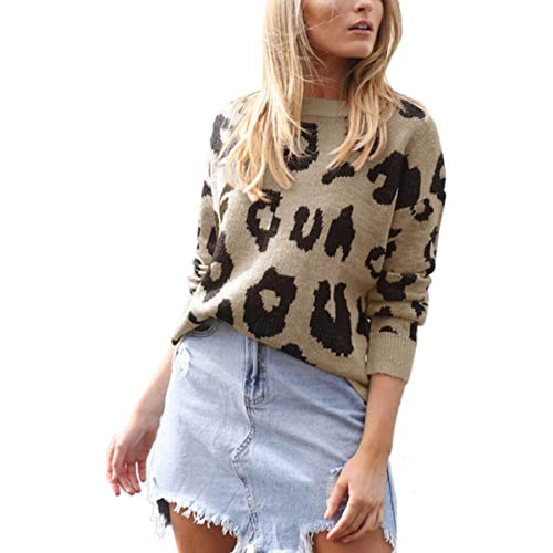 ca01d0fe7016 Angashion Women's Causal Long Sleeve Crew Neck Leopard Print Knitted Pullover  Sweater Tops