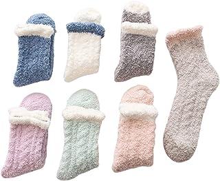 Yagerod, 7 pares de calcetines cálidos de lana de cordero, calcetines navideños de invierno, calcetines de lana de coral de color sólido, tubo medio, mullidos para el piso, para mujeres y niñas