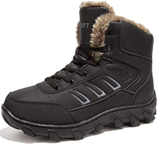 PEALAND Mens Hiking Boots for Winter with Fur Lined Warm Shoes