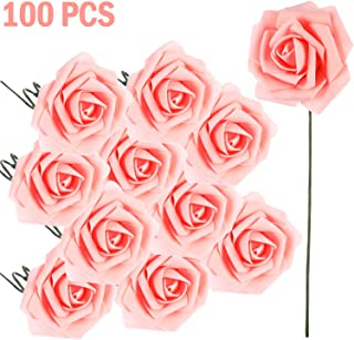 Poen 100 Pieces Artificial Flowers Blush Roses Foam Rose with Stem for DIY Wedding Bouquets Centerpieces Party Baby Shower Home Decorations