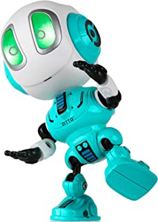 Toy Robots for Boys or Girls - Ditto Mini Talking Robots for Kids w/ Posable Body, Bright LED Toys Interactive Voice Changer Robot Travel Toys (Blue)