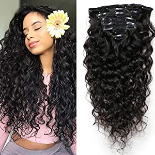 10a Brazilian Natural Wavy Curly Clip In Extensions Human Hair Brazilian Virgin Remy Wet and Wavy Curly Clip Ins For African Americans Triple Weft 8pcs/set,120gram(14 Inch)